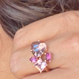 ROSE GOLD JEWELED PINK CRYSTAL STATEMENT RING